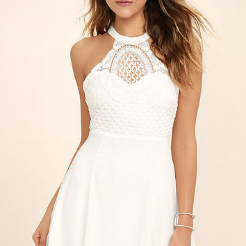 Made in the Crocheted White Skater Dress