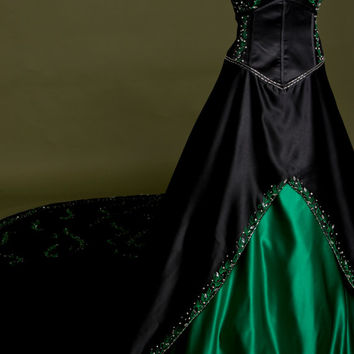 Black Wedding Dress with Green Embroidery , Custom Made in your size - Poison Ivy Style