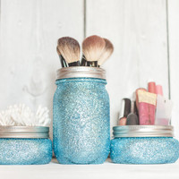 Teen glitter decor, glitter mason jars, aqua glitter organizer, makeup brush holder mason jar, teen decor
