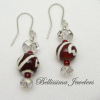 Valentine Red Artisan Beaded Earrings with Swarovski Crystal