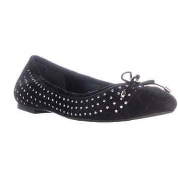 BCBGeneration Wallee Studded Front Bow Ballet Flats, Black, 10 US