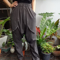 FREE GIFT... New Design - Charcoal Grey - Harem Pants, Casual Drop Crotch Unisex Trouser, In Cotton Jersey .