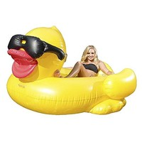 Rubber Duckie Inflatable Pool Float Cup Holders Handles