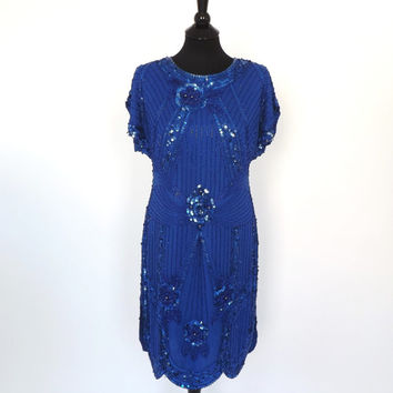 Vintage 1980s Ornate Blue Sequin Hand Beaded Silk Dress Mod Shift Short Cocktail Avante Garde Party Dress Art Deco Flapper 1920s Dress