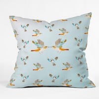 CayenaBlanca Mockingbirds Outdoor Throw Pillow