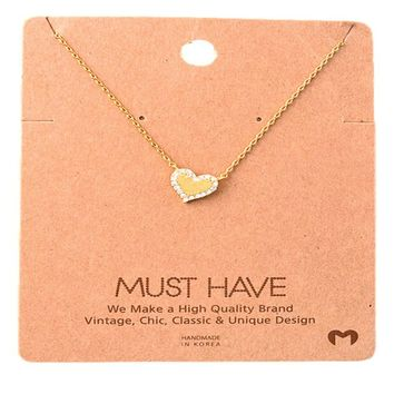 Must Have-Stone Bling Heart Necklace, Gold