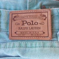 Vintage Plus Size Women's RALPH LAUREN Polo Green Jeans - Made in USA - Size 40 or 16 / 18