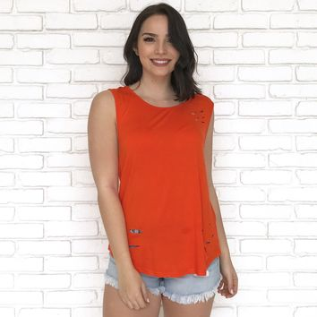 Rip Current Tank Top in Tangerine