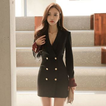 Fashion women comfortable double breasted coat new arrival autumn winter OL sexy elegant simple solid outerwear long coat Jacket