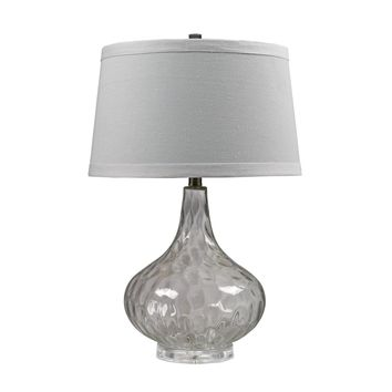 Clear Water Glass Table Lamp With White Linen Shade Clear