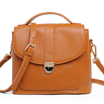 Brown Leather Messenger. Preppy Style Tan Small Leather Handbag. Genuine Leather MADE-TO-ORDER