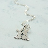 Love Bunnies Necklace - Sterling Silver Charm on a 17 inch Cable Chain