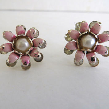 Vintage 50s earrings, pink white gold daisy, screw back, costume jewelry, womens accessories, rhinestone, clearance sale