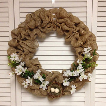 "Burlap Wreath with White Flowers and Bird's Nest, 18"" Burlap Wreath"