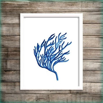 Sea coral Blue watercolor painting wall art print beach seaweed grass poster decor bathroom decal print art poster large & small aqua blue