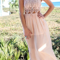 Crochet Lace Hollow Out Sleeveless Maxi Dress
