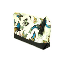 Butterfly make up bag // Large Cosmetic bag // Toiletry bag with zipper // Vegan leather bag // Makeup storage // Small Travel pouch