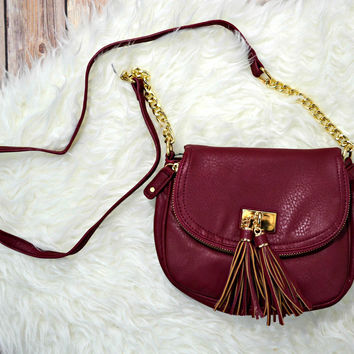 Tassel Crossbody - Burgundy