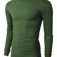 PREMIUM Mens Basic Long Sleeve Crew Neck Tri-Blend Solid Jersey T Shirt