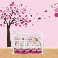 "Baby Nursery Wall Decals - Cherry Blossom Tree Wall Decal -  Tree Decal - Large: approx 75"" x 75"" - K025"