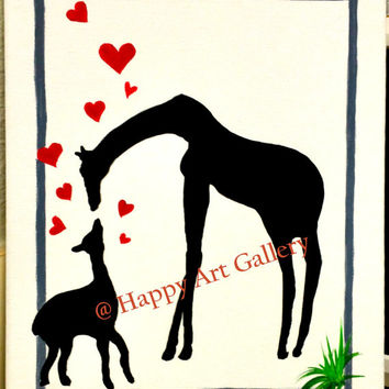 zoo animal red black Nursery. Boy. Girl Jungle Bedroom Safari Giraffe, jungle painting, kids room decor silhouette, Animal wall art 12x9""