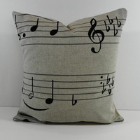 "Musical Notes Decorative Linen Pillow Cover in Natural and Black, Cushion, 14"" x 14"""