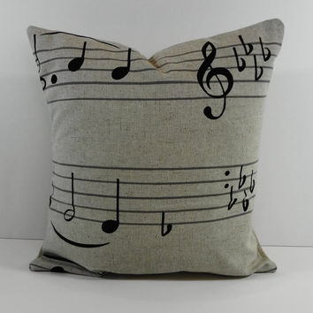 """Musical Notes Decorative Linen Pillow Cover in Natural and Black, Cushion, 14"""" x 14"""""""