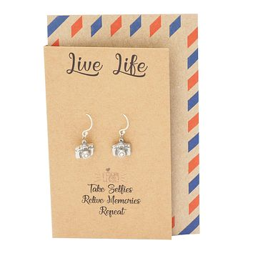 Addy Cute Camera Earrings for Women, Gifts for Photographer, Selfie Lovers and a Greeting Card