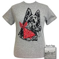 Girlie Girl Originals Preppy Bandana German Shepard Dog Grey T-Shirt