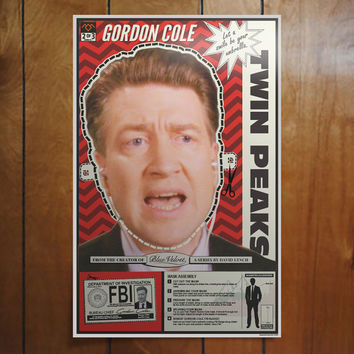 "Twin Peaks Poster Gordon Cole Mask Cut-out & Fan Art Poster Print (11""x17"")"