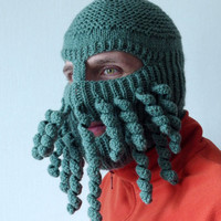 Knit Ski Mask Hat, Balaclava Full Face Ski Mask, Crazy Hat, Octopus Hat, Beard Hat, Man Hat, Woman Hat, For Fun, Strange and Unique Ski Mask
