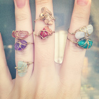 Wire wrapped stone ring 1 by SunshineCindy on Etsy