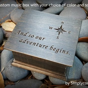 music box, And so our adventure begins, anniversary gift, wedding gift, I love you, for wife, for fiance, simplycoolgifts, Christmas