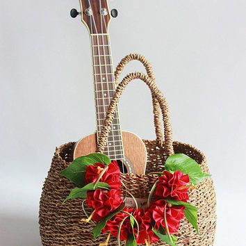 wicker basket  (red  ribbon lei included)/Flower basket /Straw Bag/ Summer Bag/Straw Beach Bag/shopping bag/French Basket/picnic basket /