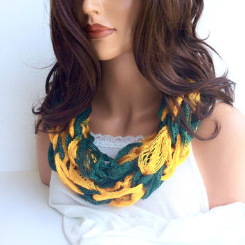 Green & Gold Team Spirit Infinity Scarf, Gift for Football Fan, Game Day Gear, Football Fashion for Women