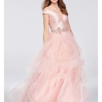 Mikado and Tulle Illusion Plunge Ball Gown   David's Bridal