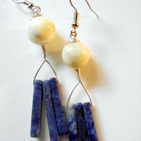 Dangle Earrings In Dark Blue Stone .. on Luulla
