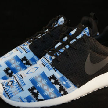New Nike Roshe Run Custom Blue White Black Tribal Aztec Edition Mens Shoes Sizes 8 - 15