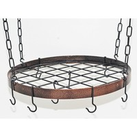 Rogar Round Hanging Pot Racks with Grid In Hammered Copper and Black