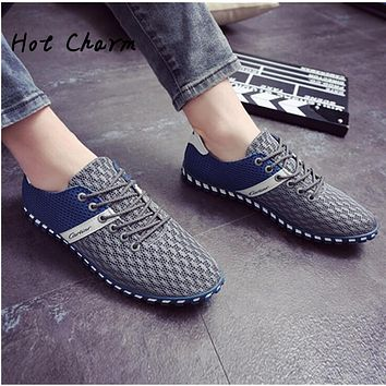 2016 Fashion Men Casual shoes Summer Autumn  Breathable Men Flats shoes Lace Up High Quality mesh Male Gay trend Shoes