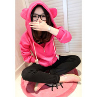 Zipper Design Bear Ear Hooded Long Sleeves Hoodie