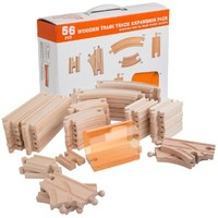 56 Piece Wooden Train Track Expansion Pack with Tunnel Compatible Thomas Wooden Railway Brio Chuggington Melissa & Doug Imaginarium Set by Orbrium Toys