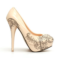 Floral Tattoo ShoesTattooed High Heel Pumps by ChristyNgShoes