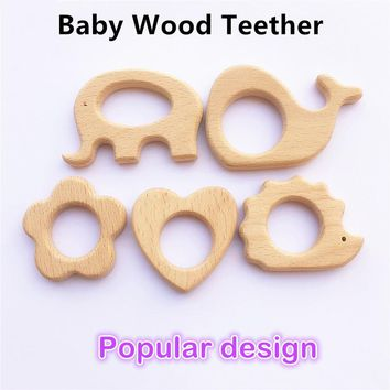 10pcs Heart Elephant Wooden Teether Nature Baby Rattle Teething Grasping Toy DIY Organic Eco-friendly Wood Teething Accessories