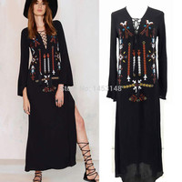 Women autumn dress Long Dress Sexy Deep V-Neck Black Hippie chic Embroidery Dresses with Slit women clothing