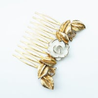 White Enamel Rose with Gold Leaves