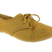 Women's Qupid Nubuck Puncture Lace Up Oxfords Shoes Salya-748 Camal