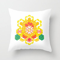 Colorful Throw Pillow - Yellow Lotus Rose - Graph Drawing - Throw Pillow Cover , 16x16, Flower Pillow, Yellow and Green