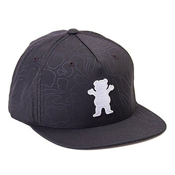 Grizzly Griptape Men's Topography OG Bear Snapback Hat-Black