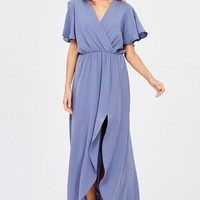 In Paris Blue Drape Maxi Dress
